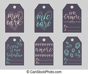 italien, valentines, don étiquette, set.