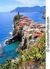 italien, vue, côtier, village