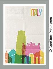 italien, weinlese, reise, skyline, plakat, wahrzeichen