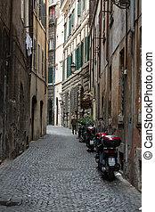 italien, zentrieren, historisch, rom, charmingn, straße, eng