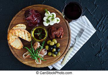 italienesche, antipasti, wein, knabberzeug, satz