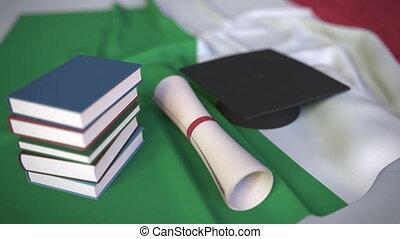 italienesche, bildung, kappe, diplom, animation, verwandt,...