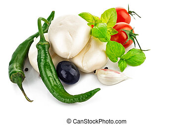 italienesche, kã¤se, mozzarella, mit, fleischtomaten, olive, und, basilikum