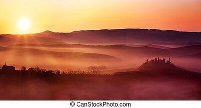 italienesche, landschaftsbild, dämmern, landschaft