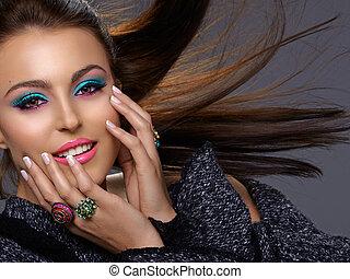 italienesche, mode, schoenheit, make-up
