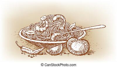 italienesche, nudelgerichte, mit, fleischtomaten, gezeichnet, per