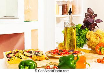 italienesche, nudelgerichte, und, andere, lebensmittel, tisch