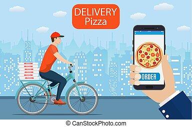pizza lieferung lizenzfreie vektor clip art pizza lieferung clipart vektor eps. Black Bedroom Furniture Sets. Home Design Ideas