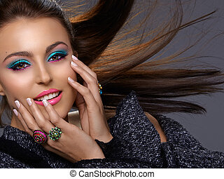 italienesche, schoenheit, mit, mode, make-up