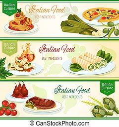 italienische küche, abendessen, mit, frucht nachtisch, banner