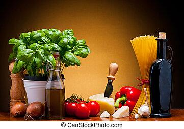 italienische küche, lebensmittel