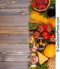 italienische speise, hintergrund, -, bestandteile, auf, hölzern, tisch.
