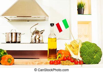 italienische speise, mit, kopieren platz, auf, der, küchentisch