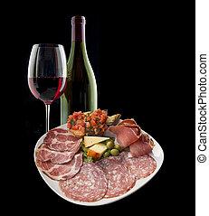 italiensk, antipasto, och, vin