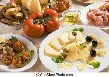 italiensk, appetitvækkeren, mad