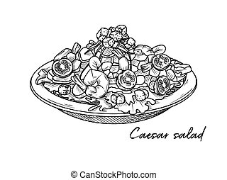 italiensk, bakgrund., caesar, vit, räka, dishes., vektor, ...
