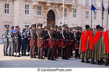 italiensk, bevæbnet, forces', dag