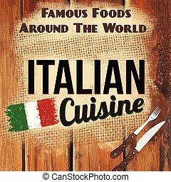 italiensk, illustration, vektor, affisch, kokkonst, retro