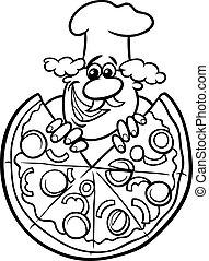 italiensk, kolorit, tecknad film, sida, pizza