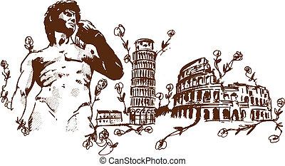italiensk, landemærker, illustr