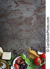 italiensk mad, baggrund, hos, arealet, by, tekst