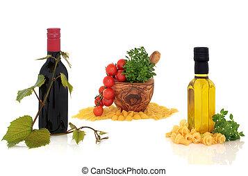 italiensk mad, og, drink, samling