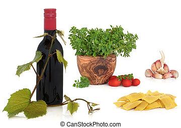 italiensk mad, og, vin