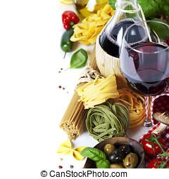 italiensk mat, och, vin
