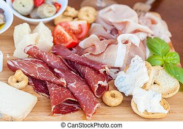 italiensk mat, på, huggande planka