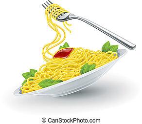italiensk, pasta, in, tallrik, med, gaffel