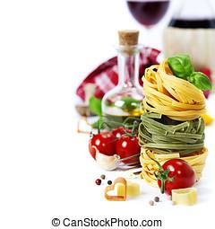 italiensk, pasta, og, vin