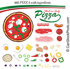 italiensk, sæt, pizza, ingredienser
