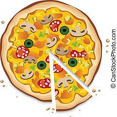 italiensk, skiva, pizza