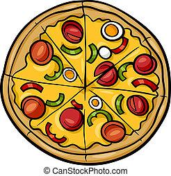 italiensk, tecknad film, illustration, pizza