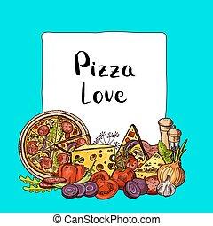 italiensk, vektor, pizza, elementara, sketched