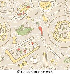italiensk, vektor, seamless, bakgrund, mat.