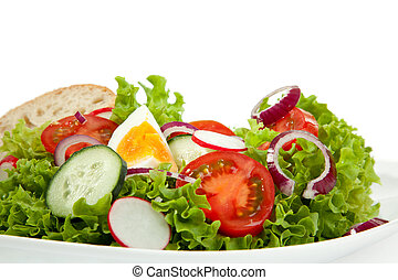 Italo Salad - Frontview of a plate of fresh mixed salad.