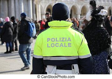 italský, cívka, s, uniforma, s, ta, text, polizia, dějiště,...