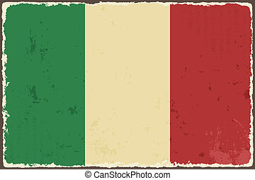 italský, grunge, flag., vektor, ilustrace