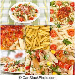 italský, pasta., strava, koláž