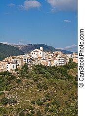 italy., パノラマである, puglia., varano., cagnano, 光景