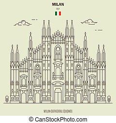italy., ランドマーク, アイコン, 大聖堂, ミラノ