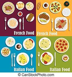 italy, 以及, 法國, 烹飪, 盤