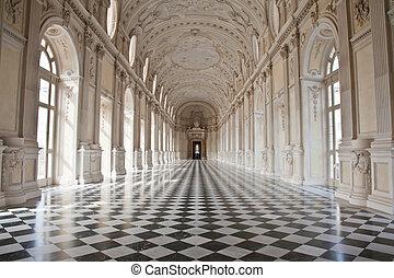 italy, -, 皇家, palace:, 風雨街廊, 二, 黛安娜, venaria