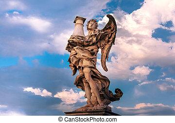 italy, 雕像, 天使, rome, 圣徒, 架桥
