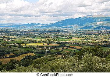 italy., 파노라마, montefalco., 보이는 상태, umbria.