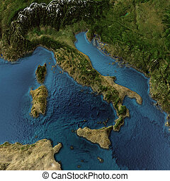 Italy 3d map - Italy. 3d landscape with shadows, transparent...