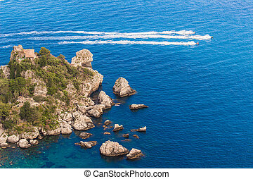 Italy: Aerial view of island and Isola Bella