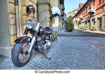 italy., alba, strada., motocicletta