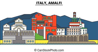 Italy, Amalfi. City skyline, architecture, buildings, streets, silhouette, landscape, panorama, landmarks. Editable strokes. Flat design line vector illustration concept. Isolated icons